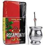 Yerba Mate Rosamonte Traditional 1 kg Edelstahl Mate Tee Set: Yerba Matebecher - Kalebasse | Yerba Mate Tee Strohhalm - Bombilla | Reinigungsbürste enthalten