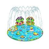 Xzbling Sprinkler Pad & Splash Spielmatte, 59 Zoll Kinder Splash Pad - Sprinklerpad Für Wasserspiele Im Freien - Flacher Pool Und Sprinkler Mit Verbesserter Spritzplattendüse, 1-3 Minuten Aufblasen