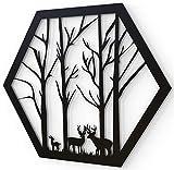 JustComfy Wanddeko aus Metall | 37x32cm | Wand Dekor aus schwarzem Metall | Metallbilder als Moderne Wanddekoration für Wohnzimmer & Flur | Motiv H