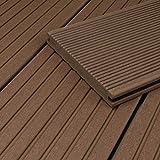 HORI® WPC-Terrassendiele Braun Massivdiele I Komplettset inkl. 40x60 mm Unterkonstruktion & Clips I Fläche: 100 m² I 4,00 m Dielenlänge