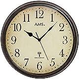 AMS 5962 Wanduhr Funkuhr Wand Vintage Uhr Style Metallgehäuse in antiker Holz-Optik Dek