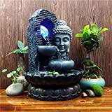 CHINESS Buddha-Figur Zimmerbrunnen, Mit Pumpe Und LED-Beleuchtung, Steingarten Wasserfall, Fischteichb