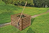 Gartenwelt Riegelsberger Holzkomposter XXL 120x120xH70 cm Kiefer braun kesseldruckimprägniert mit Holz-Stecksystem Komposter Komposte Steckkomposter Komp
