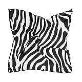 QMIN Seidenschal, quadratisch, Zebramuster, Tierfellmuster, modisch, leicht, Haarband, Tidy Halstuch, für Damen, 60 x 60 cm