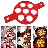 Utopp fantastischer Pfannkuchenmacher aus Silikon mit 7 Öffnungen, auch als Eier-Ring für Spiegeleier geeignet, Anti-Haft-Funktion