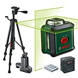 Bosch cross line laser UniversalLevel 360 Premium Set (horizontal 360° laser line + vertical laser line, green laser, 4x AA batteries, with tripod and clamp, in box)