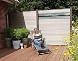 terrasso WPC/BPC Sichtschutzzaun bi Color-weiß 2 Zäune inkl. 3 Pfosten in Dark Grey und Verglasung Sichtschutz Gartenzaun Zaun