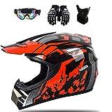 Motocross-Helm Fullface Helm Kinder Crosshelm mit Brille Handschuhe Maske, Joryoc Motocrosshelme MTB Helm für Motorrad Enduro Quad Schneemobil (Rot, XL(61-62cm))