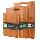 Loco Bird massive Bambus Schneidebretter 3er Set - 33x22cm / 28x22cm / 15x22cm - Holz-Brett für die Küche - Holzschneidebrett - Antibakterielles Schneidebrett aus H