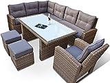 RAGNARÖK hohe Dinning Lounge - DEUTSCHE Marke - 8 Jahre GARANTIE EIGENE Produktion - PolyRattan Gartenmöbel Essgruppe Hocker Sessel verstellbare Lehn Naturfarben R