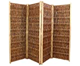 bambus-discount.com Paravent aus Weidenzweigen 4teilig mit H: 180 x B: 240cm - Hochwertiger Weiden Paravent als charmanter und praktischer Hingucker