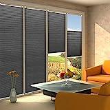 KINLO Plissee Jalousien Rollo Sonnenschutzrollo ohne Bohren für Fenster Tür 45x130cm Vorhänge Seitenzugrollo Klemmfix mit Klemmträger (Schwarz)
