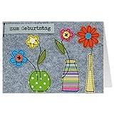 Grußkarte Filz - Blumen Zum Geburtstag - Geburtstagskarte - 33