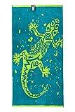 jilda-tex Strandtuch 90x180 cm Badetuch Strandlaken Handtuch 100% Baumwolle Velours Frottier Pflegeleicht (Gecko)
