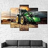 Modern Wandbilder 5 Teilig Leinwand Wanddeko Malerei Leinwanddrucke Geschenk 5 Stück Leinwand Bilder Moderne Wandbilder XXL Wohnzimmer John Deere Traktor Rasenmäher 200x100 cm-79' B x39' H,Rahmen