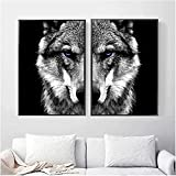 liujiu Wandkunst Bild Wolfskopf Tierplakat Nordischer Stil Schwarz Weiß Leinwanddruck Gemälde Skandinavisch Modern Home Room Decor -Unframed_70x100cm × 2