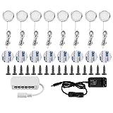 LIGHTESS 8er Set LED Schrankbeleuchtung 20W Schrankleuchte Unterbauleuchte für Unterschränke Küche Kleiderschrank Vitrinen, Kaltweiß/Warmweiß