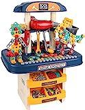 Tacobear Werkbank Kinder Werkzeugbank 246 Stück Kinderbank Werkzeug mit Zubehör Elektrische Bohrmaschine und Bausteine Bauspielzeug Kinder Spielzeug Geschenk für Jungen Mädchen ab 3 4 5 Jahre