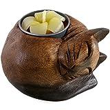 Hölzerner Teelichthalter in der Form Einer schlafenden Katze, Mehrfarbig