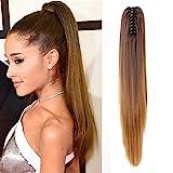 Neverland 50cm Ombre zweifarbig lang gerade Clip in/auf wellig Pferdeschwanz Pferdeschwanz Haarverlängerung Haarteil Klaue 8#