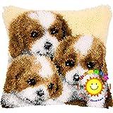 Hund Knüpfkissen Kreuzstich Stickerei DIY Set Selber Machen Set Latch Hook Kit Für Kinder, Erwachsene Oder Anfänger, Home Dekor/Geschenk,Three Little Milk Dog