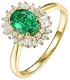 AmDxD Verlobung Ringe 18k Gelbgold, Blumen Design 0.8ct Oval Grün Smaragd mit 0.36ct Diamant Damenringe, Frauen, Gold, Gr.56 (17.8)