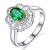 KnSam Damen Ring, Eheringe Für Frauen 18K Weiß Gold Gold Ring for Women Mit 1.6ct Smaragd Diamond Weiß Gold