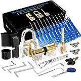 Luxebell Lock Picking, 33 PCs Dietrich Set mit 3 transparenten Übungsschlössern bieten 4 Schwierigkeitsstufen für Anfänger und Schlosserausbildung
