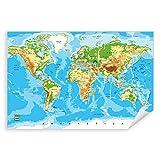 Postereck - 0848 - Detaillierte Weltkarte, Hauptstädte Länder - Unterricht Klassenzimmer Schule Wandposter Fotoposter Bilder Wandbild Wandbilder - Poster - DIN A4-21,0 cm x 29,7 cm