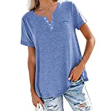 NIUYAN Damen T-Shirt V-Ausschnitt Sommer Kurzarm Tshirt Taste Einfarbig Elegant Blusen Oberteile T-Shirt Damen Sommer Basic Kurzarm Shirt Elegant Oberteile Freizeit Tuniken Tops mit Button