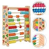 Sunshine smile Abakus,Holz Rechenschieber,Holzspielzeug Baby,Montessori Spielzeug,Mathematik mit 100 Holzperlen Kinderspielzeug Motorikspielzeug Lernspielzeug Geschenke für Kinder (Nummer)