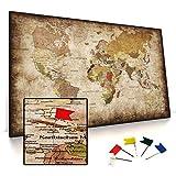 CanvasArts Weltkarte - Pinnwand auf Keilrahmen - Vintage, Leinwand Grunge Style, deutsch, Foamboard Rückwand statt Kork Rückseite (120 x 70 cm, Pinnwand)