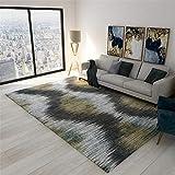 Kunsen Teppich klein Wohnzimmer Schlafzimmer Teppich grau gelbe rechteckige Moderne Art weich betten antirutsch für Teppich 100X160CM 3ft 3.4' X5ft 3'
