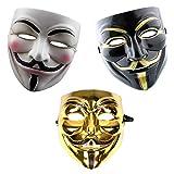 GrassVillage Anonymous Halloween V for Vendetta 3-teiliges Masken-Set – Gold, Weiß und Schwarz – Party, Weltbuchwoche / Halloween Kit