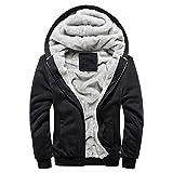 MRULIC Herren Hoodie Pullover Winter Warme Fleece Jacke Zipper Sweater Jacke Outwear Mantel RH-054(Schwarz,EU-46/CN-XL)