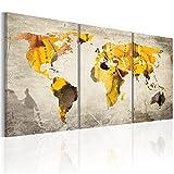 murando - Bilder Weltkarte 180x90 cm Vlies Leinwandbild 3 TLG Kunstdruck modern Wandbilder XXL Wanddekoration Design Wand Bild - Abstrakt bunt Kontinente 020113-51