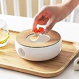 Stövchen Teekanne Basis, Porzellan Heizung, Keramik Weiß Teewärmer, Kaffeekocher Stövchen Basis Mit Korkmatte, Tee Herd Kochen Tee-Set Zubehör, Retro Teelichthalter