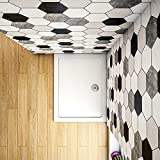 Aica Sanitär Rechteck Quadrat Runddusche Duschtasse Kunststein mit GelCoat-Oberfläche Weiß