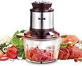 IKARE Zerkleinerer Elektrisch Universalzerkleinerer, 250W Multi-Zerkleinerer, 2L Glasbehälter, 4-flügeliges Edelstahlmesser,Küchenwolf für Fleisch, Obst, Gemüse und Babynahrung