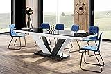 Design Esstisch Tisch HEU-111 Schwarz/Weiß Hochglanz ausziehbar 160 bis 256 cm