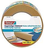 tesa Doppelseitiges Klebeband Universal - Vielseitiges Klebeband für Verpackungen, Deko und Teppiche oder zum Basteln - 25 m x 50