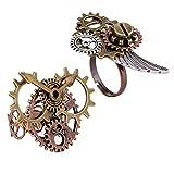 Milageto 2pcs Steampunk Uhr Teil Zahnräder Antike Kupferringe Schmuck