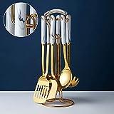 Kreatives Marmor-Keramik-Edelstahl-Küchengeschirr, nordische Küchenutensilien, Kochlöffel, Schaufel, Edelstahl-Küchengeschirr-Set (Typ 2)