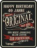 RAHMENLOS Deko Blechschild als Geschenk zum 40. Geburtstag: Perfektion seit 1981