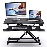 ABOX Sit-Stand Workstation, Höhenverstellbarer Schreibtisch-Aufsatz Computertisch mit automatischem elektrischem Knopf, Tastaturablage, ergonomischer Sitz-Steh-Schreibtisch für Büro Z
