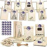 Adventskalender zum Befüllen, Geschenktüten für Weihnachten, Adventskalender, 1-24 Adventskalender Kraftpapier Tüten mit 24 Zahlenaufklebern für Weihnachten zum Basteln und Verzieren, Weihnachts
