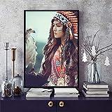 Drucken auf Leinwand Indische Schönheiten für Plakate und Bilder, Kunstwerke, Wohnzimmer Wanddekoration,60x90cm,Rahmenlose Malerei