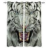 JKCloth Blickdichte Gardinen Verdunkelungsvorhang 2 Stück 280 x 250 cm Lichtundurchlässige Vorhang mit Ösen für Wohnzimmer Schlafzimmer Junge Erwachsener - Tierischer weißer Tiger