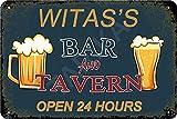 Hdadwy Witas Bar und Taverne 24 Stunden geöffnet Eisenplakat Vintage Gemälde Blechschild für Straße Garage Home Cafe Bar Mann Höhle Farm Wanddekoration Handwerk