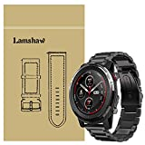 LvBu Armband Kompatibel mit Amazfit Stratos 3, Classic Edelstahl Uhrenarmband für Amazfit Stratos 3 Smartwatch (Schwarz)